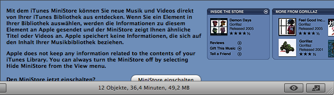 MiniStore in iTunes 7 showing a strange mix of languages and a half covered button