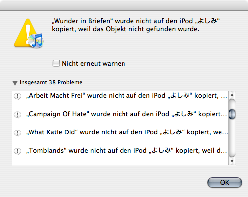 iTunes being unable to locate song files it wants to copy to the iPod