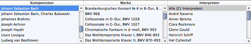 Browsing Classical music horizontally by Composer and Œuvre in iTunes 9