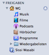 iTunes Home Sharing in the sidebar