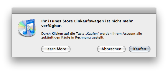 iTunes telling me that there is no shopping cart