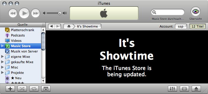 iTMS announcing Showtime in its iTunes interface