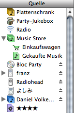 iTunes sources list, in a well filled state