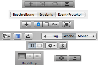 tab bars and buttons from various OS X applications