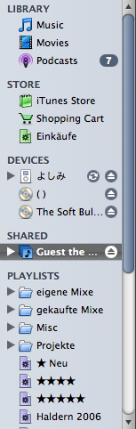 iTunes 7 source list with a shared library, two CDs and an iPod displayed