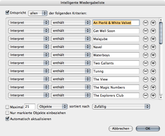 iTunes 7.5 Smart Playlist editor
