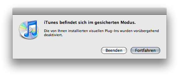 Dialogue warning you about having launched iTunes in safe mode