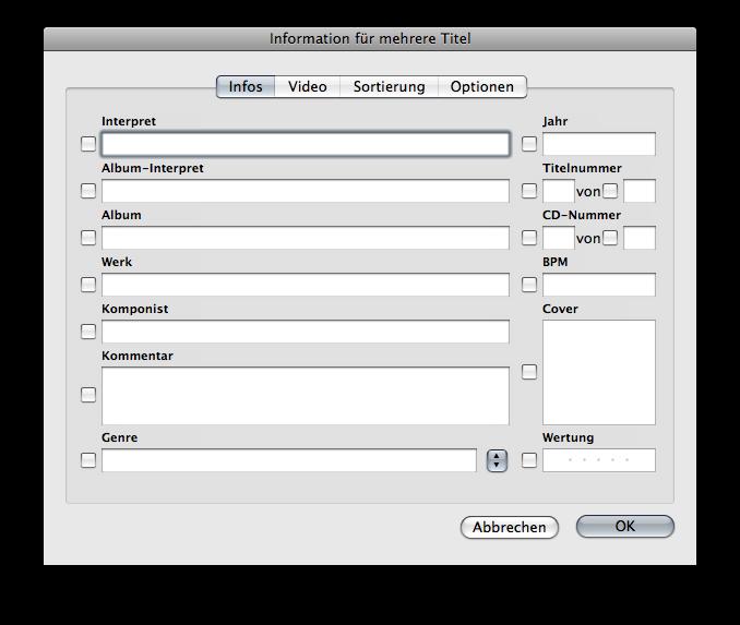 Batch editing song info window