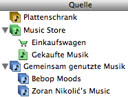 iTunes hierarchical sources list