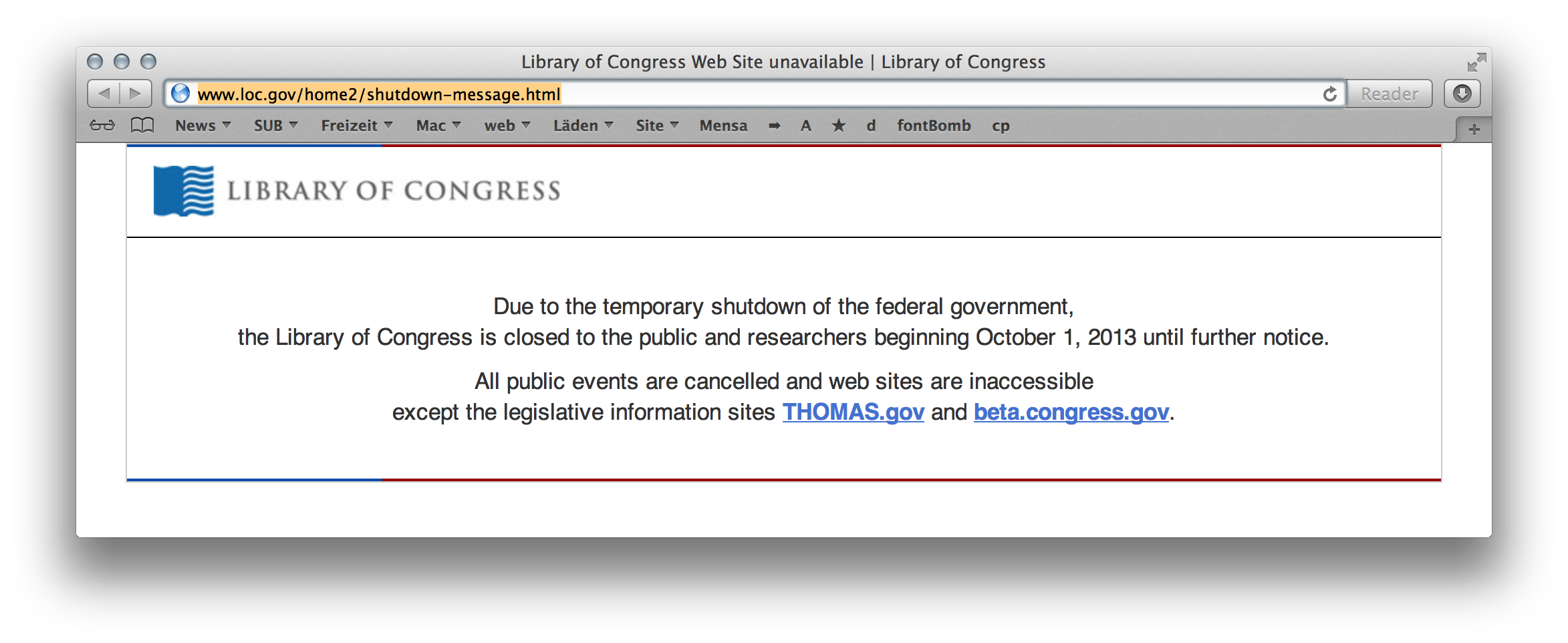 Screenshot of Library of Congress website during the shut down