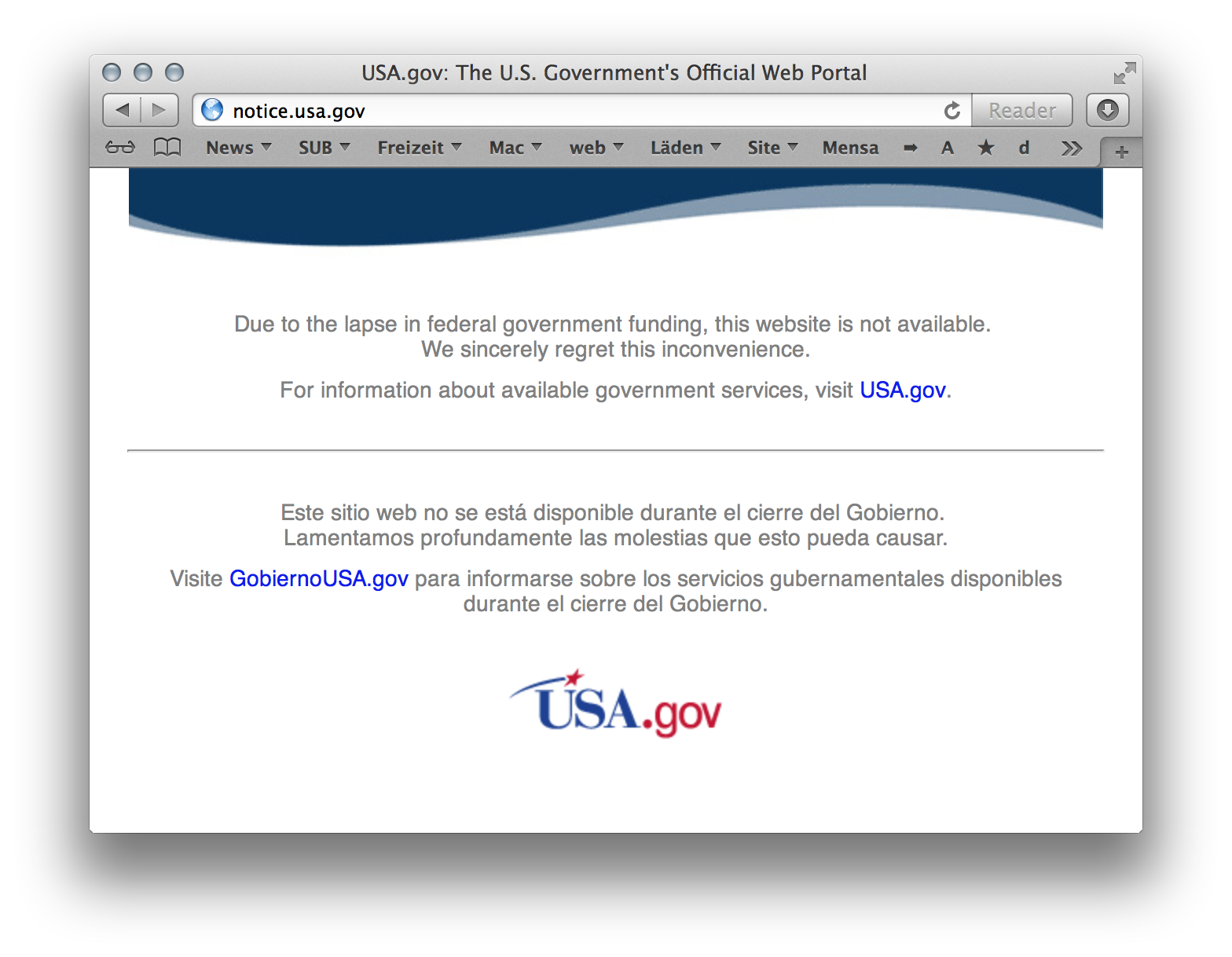 Screenshot of notice.usa.gov which appears when opening the nasa.gov site