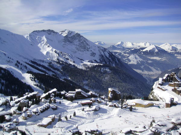 Avoriaz seen from the mountain next to it