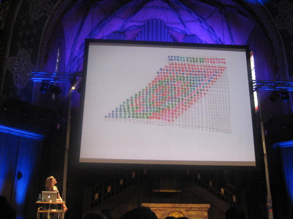 Stefanie Posavec looking at her slide visualising long-multiplication at see7.
