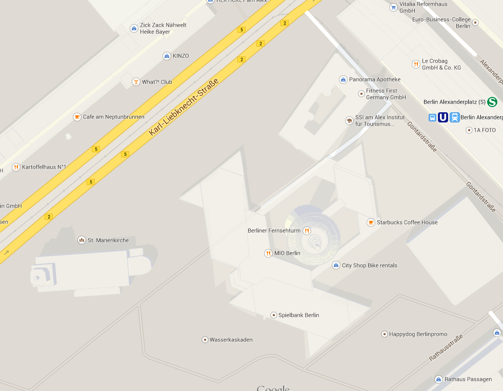 Early afternoon screenshot of Berlin Alexanderplatz in Google Maps