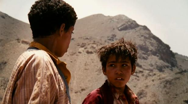 Shot from the film with the two Moroccan boys