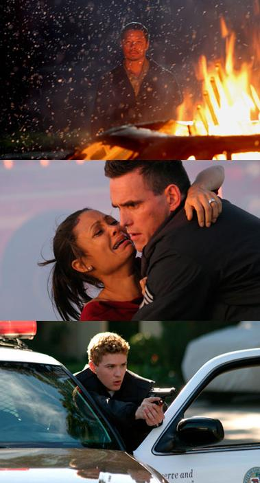 Three shots from the film: black guy behind a fire / white cop holding black woman / white cop with a gun