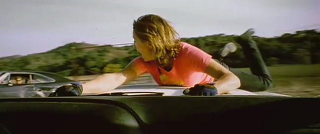 Girl on car bonnet in Death Proof