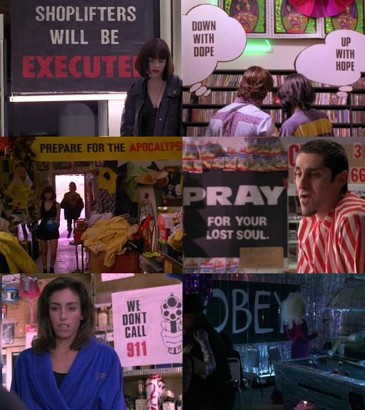 Text bits in the background in The Doom Generation