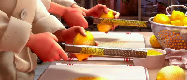 Grating off lemon zest in Ratatouille
