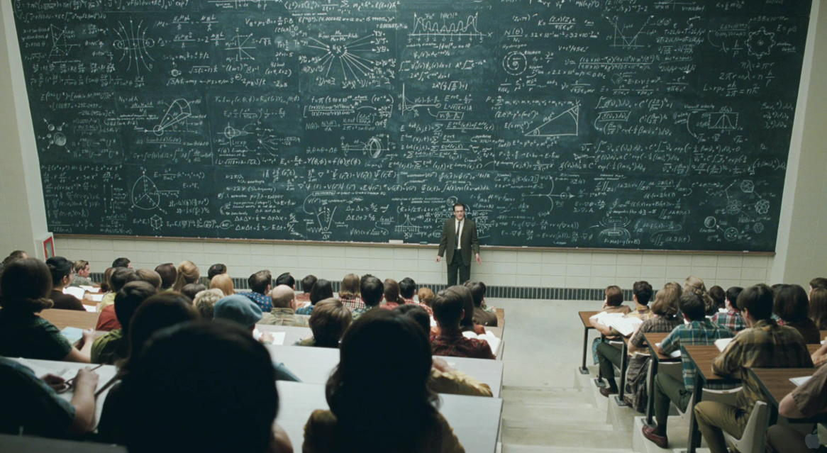 Massive wall of blackboards in lecture theatre in A Serious Man