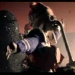 From Untitled 1 Video. Kid with gas mask, Ash-man in background.