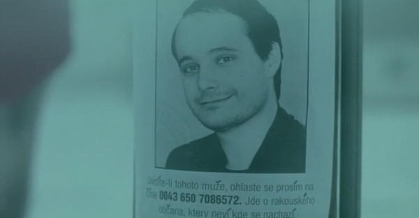 Poster in Czech put up to find a missing person with manually added caron accents