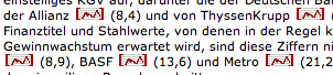 Stock markers on the Spiegel Online site