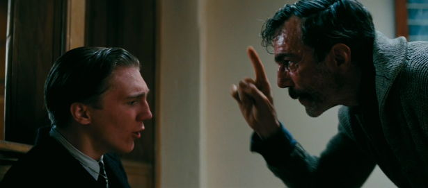 Scene from the film: business arguing with religion