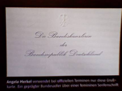 business card of the chancellorette