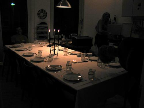 Very dark image of the set up table