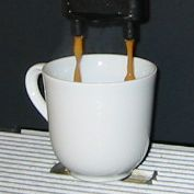 Espresso while being made.