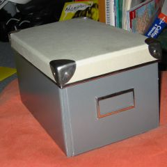 Cardboard box when assembled (with differently coloured cover)