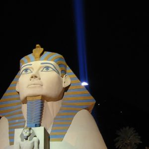 Egyptian Statues and Lightbeam in Las Vegas